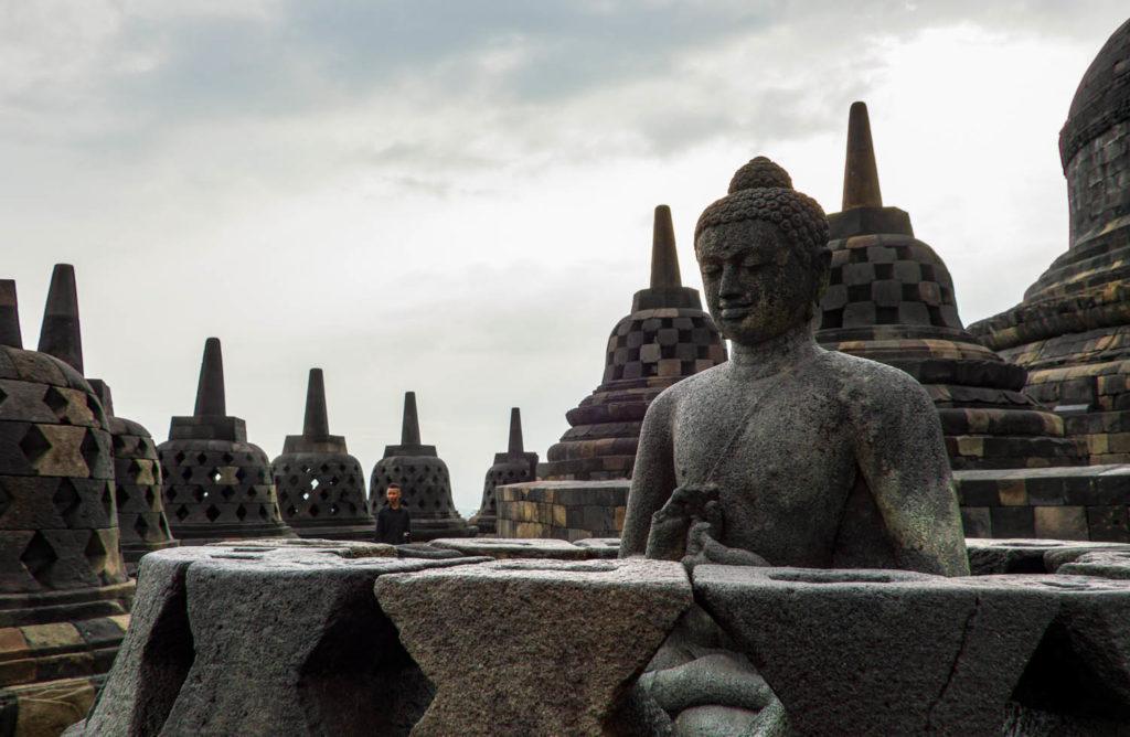 details of Borobudur temple in indonesia