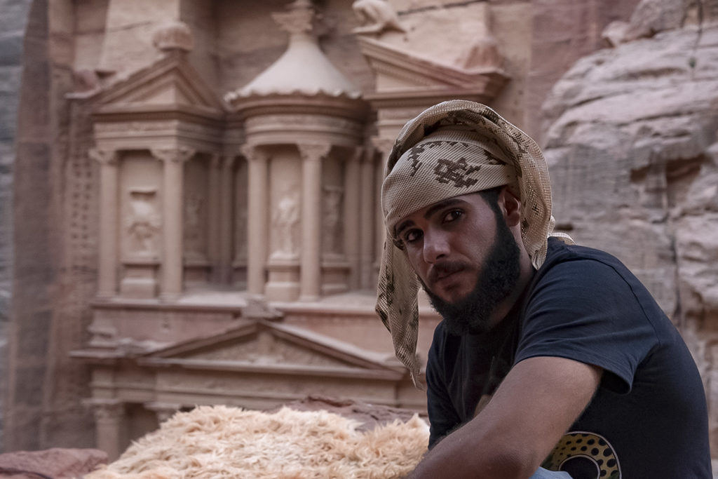 Jordan guy who lives in front of the Treasure, in Petra