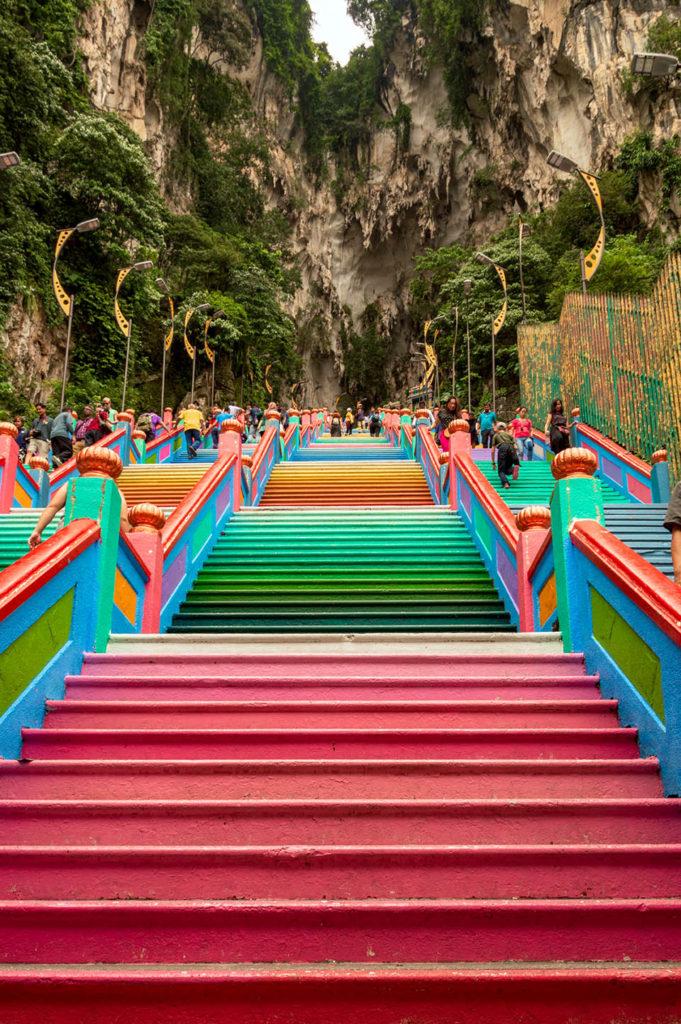Batu Caves colorful stairs Malaysia